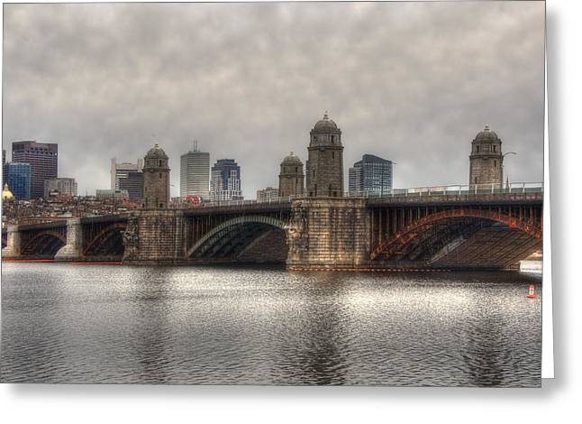 Charles River Greeting Cards - Overcast on the Longfellow Greeting Card by Joann Vitali