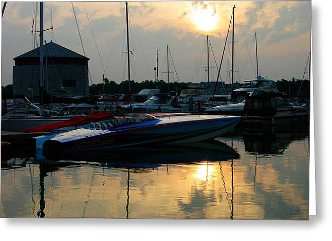 Poker Run Boat Greeting Cards - Overcast Poker Run Morning Greeting Card by Paul Wash