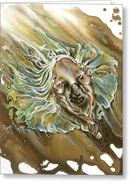 Floating Girl Greeting Cards - Overcome Greeting Card by Karina Llergo