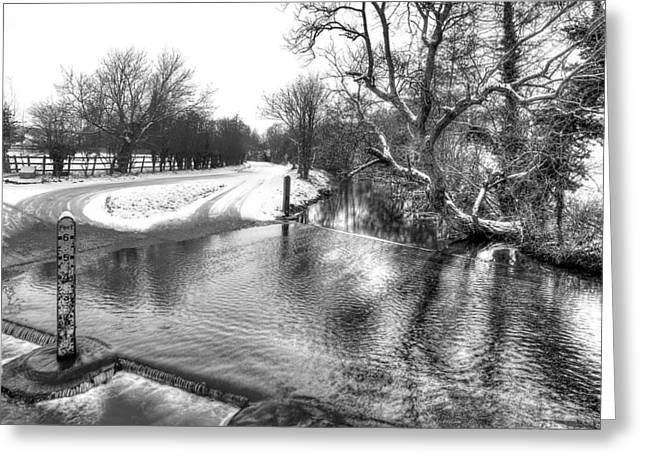 Reflections In River Greeting Cards - Overflowing River in Black and White Greeting Card by Gill Billington