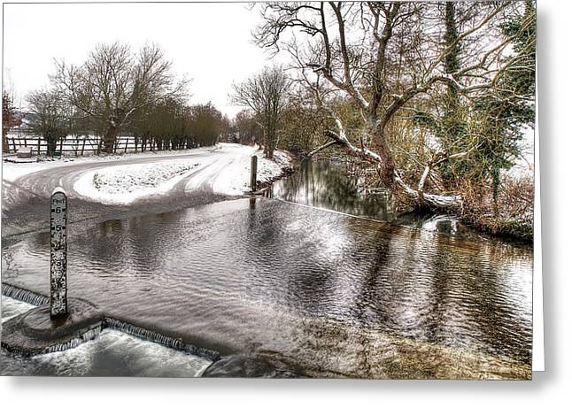 Reflections In River Greeting Cards - Overflowing River in Winter Greeting Card by Gill Billington