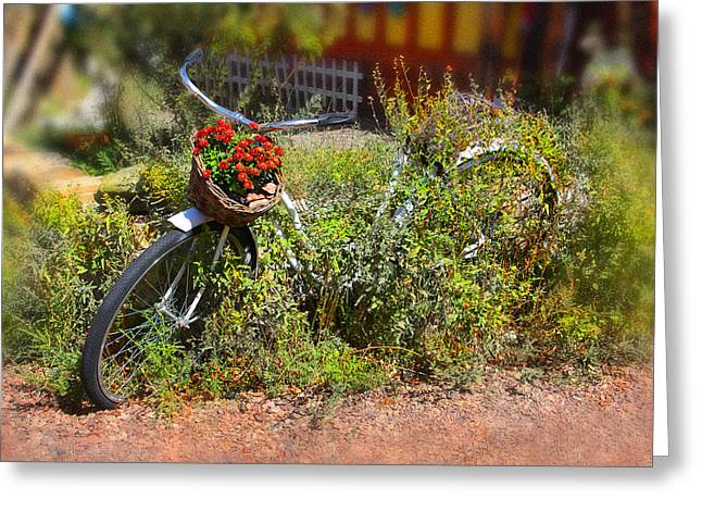 Basket Digital Art Greeting Cards - Overgrown Bicycle with Flowers Greeting Card by Mike McGlothlen