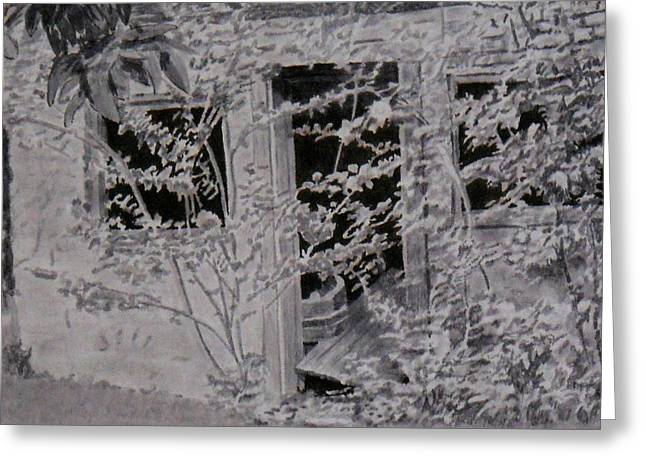 Dilapidated Drawings Greeting Cards - Overgrown Building in Waterford Virginia Greeting Card by H Leslie Simmons