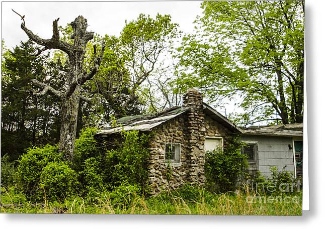 Leafy Cave Greeting Cards - Overgrown Stone Cottage Route 66 Hazelgreen Missouri Greeting Card by Deborah Smolinske