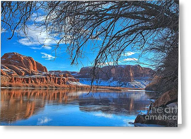Southern Utah Greeting Cards - Overhanging The Green River Greeting Card by Adam Jewell