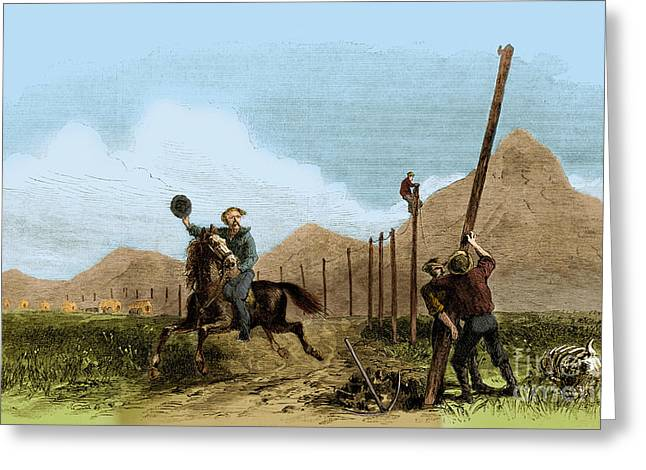 Weekly Greeting Cards - Overland Pony Express Rider Greeting Card by Photo Researchers