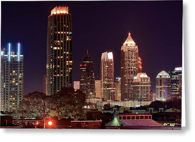 Night Hawk Greeting Cards - Overlooking Atlanta Greeting Card by Frozen in Time Fine Art Photography