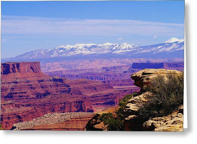 Snow Capped Greeting Cards - Overlooking Canyon Land Greeting Card by Jeff  Swan
