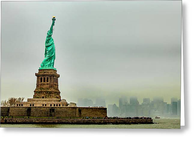 People Greeting Cards - Overlooking Liberty Greeting Card by Az Jackson