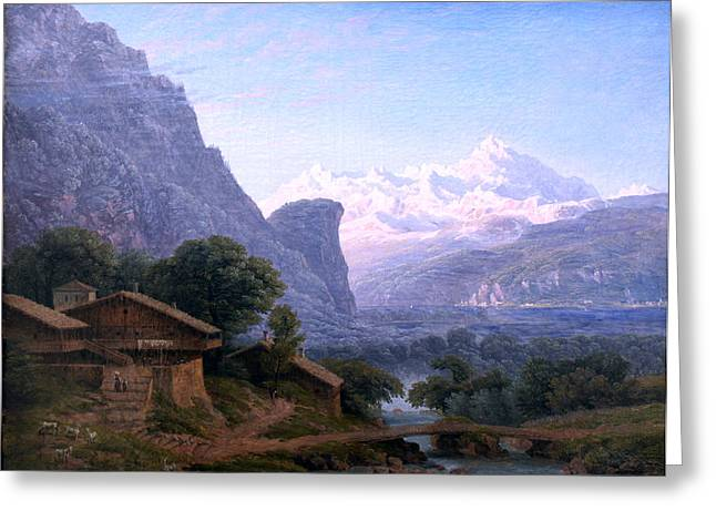 Karl Friedrich Schinkel Greeting Cards - overlooking Mont Blanc anagoria Greeting Card by Celestial Images
