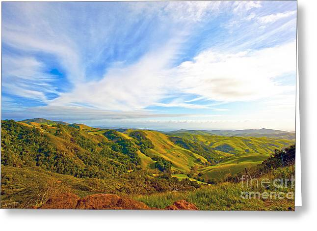 Overlooking Morro Bay Ca Greeting Card by Artist and Photographer Laura Wrede