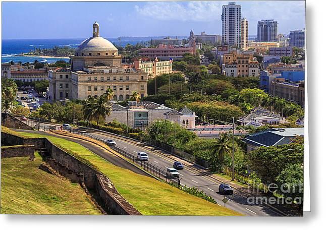 Old San Juan Prints Greeting Cards - Overlooking Old San Juan Greeting Card by Mary Lou Chmura