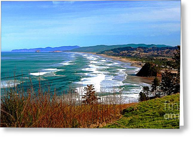 Cape Lookout Greeting Cards - Overlooking Proposal Rock Cape Lookout Haystack Rock and Cape Kiwanda Greeting Card by Margaret Hood