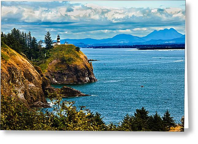 Lighthouse Photography Greeting Cards - Overlooking Greeting Card by Robert Bales
