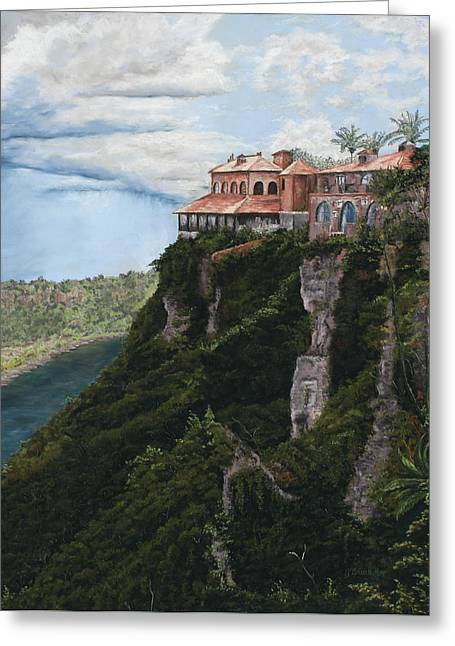 Dominican Republic Pastels Greeting Cards - Overlooking the Chavon River Greeting Card by Angela Bruskotter