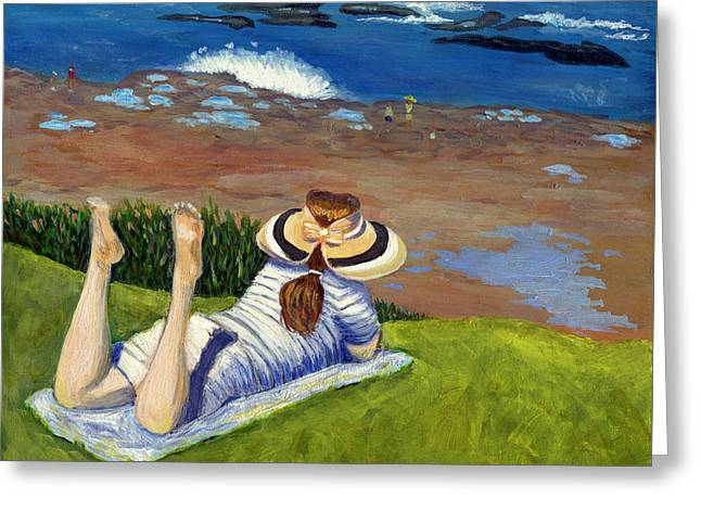 California Beach Art Greeting Cards - Overlooking the Cliffs Greeting Card by Karyn Robinson