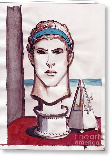 Greek Sculpture Drawings Greeting Cards - overlooking the Mediterranean Sea with sculpture and a metronome fishbowl Greeting Card by Line Arion