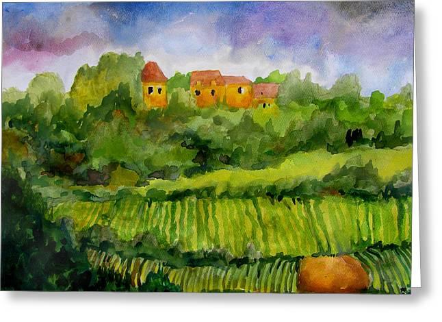 Pastoral Vineyard Paintings Greeting Cards - Overlooking the Vines Greeting Card by James Huntley