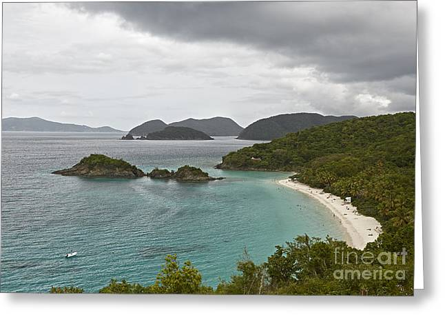 Virgin Pyrography Greeting Cards - Overlooking Trunk Bay Beach Greeting Card by Eyzen M Kim