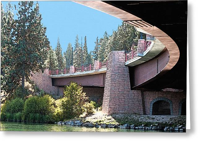 Deschutes Greeting Cards - Healy Bridge Over Deschutes River Greeting Card by Gwyn Newcombe