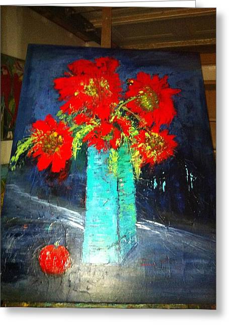Oversized Poppies With Apple Greeting Card by Anna Tolleson