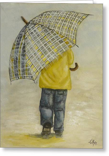 Raining Greeting Cards - Oversized Umbrella Greeting Card by Kelly Mills