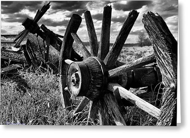 Overturn Greeting Cards - Overturned and Forgotten in Black White  Greeting Card by Tim Abshire