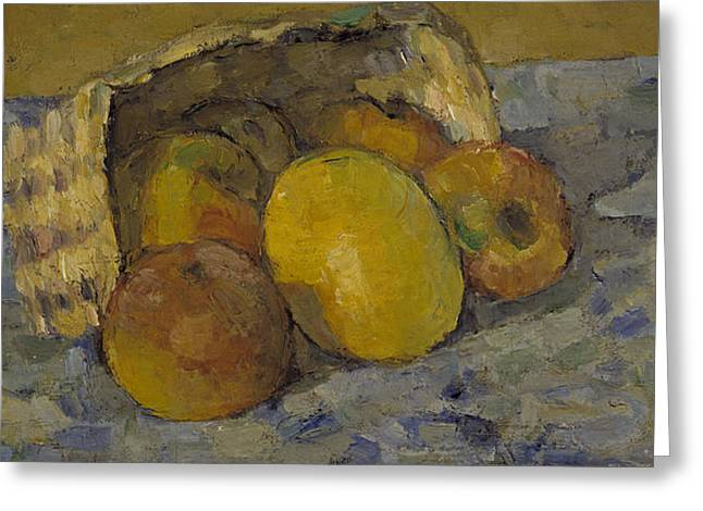 Apple Paintings Greeting Cards - Overturned Basket Of Fruit, C.1877 Greeting Card by Paul Cezanne