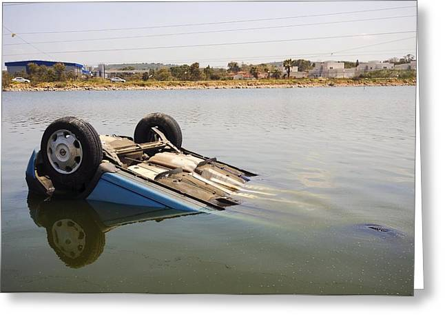 Overturn Greeting Cards - Overturned car Greeting Card by Science Photo Library