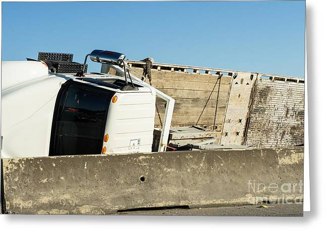 Overturn Greeting Cards - Overturned flatbed truck in HOV lane Greeting Card by IBC Stock Images