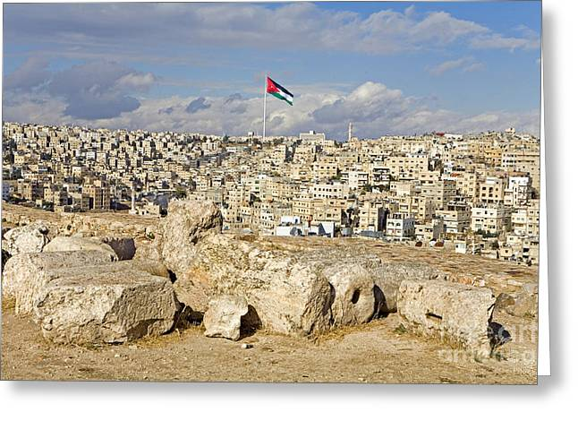 Historic Site Greeting Cards - Overview Of Amman Citadel, Jordan Greeting Card by Adam Sylvester
