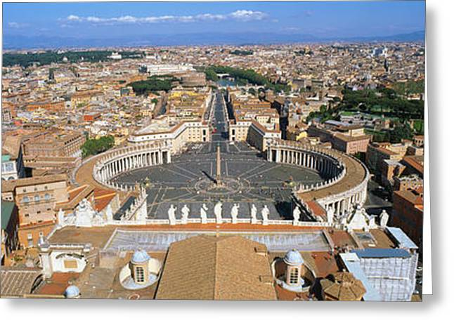 Town Square Greeting Cards - Overview Of The Historic Centre Of Rome Greeting Card by Panoramic Images