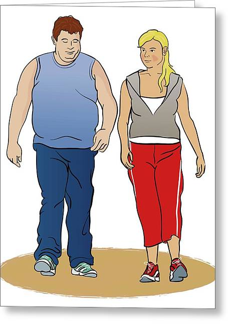 Overweight Man Exercising Greeting Card by Jeanette Engqvist