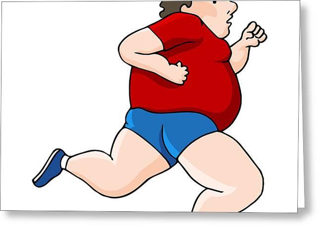Sweating Digital Art Greeting Cards - Overweight Runner Greeting Card by John Takai