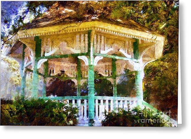 Bandstand Greeting Cards - Owego Gazebo Courthouse Square Park Greeting Card by Janine Riley