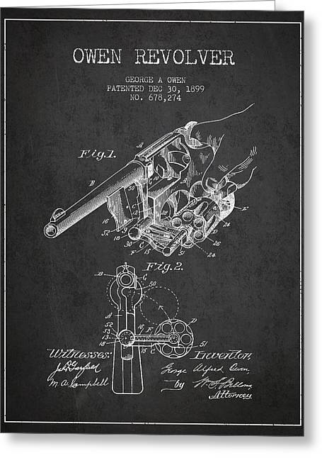 Revolver Greeting Cards - Owen revolver Patent Drawing from 1899- Dark Greeting Card by Aged Pixel