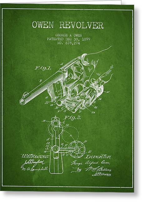 Revolver Greeting Cards - Owen revolver Patent Drawing from 1899- Green Greeting Card by Aged Pixel