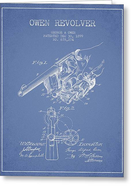 Revolver Greeting Cards - Owen revolver Patent Drawing from 1899- Light Blue Greeting Card by Aged Pixel