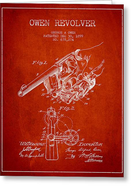 Revolver Greeting Cards - Owen revolver Patent Drawing from 1899- Red Greeting Card by Aged Pixel
