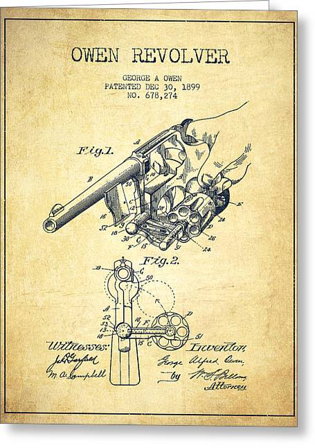Bass Digital Art Greeting Cards - Owen revolver Patent Drawing from 1899- Vintage Greeting Card by Aged Pixel