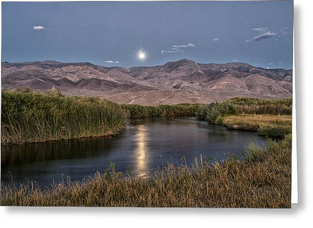 Moon River Greeting Cards - Owens River Moonrise Greeting Card by Cat Connor