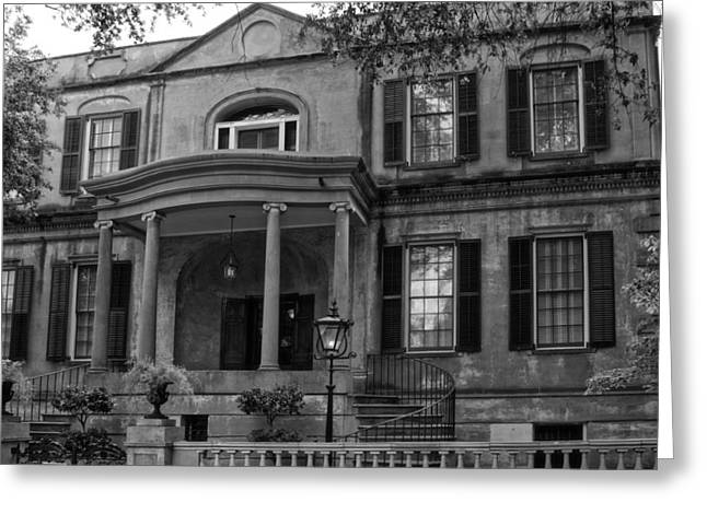 Abercorn Greeting Cards - Owens - Thomas House in Black and White Greeting Card by Greg and Chrystal Mimbs