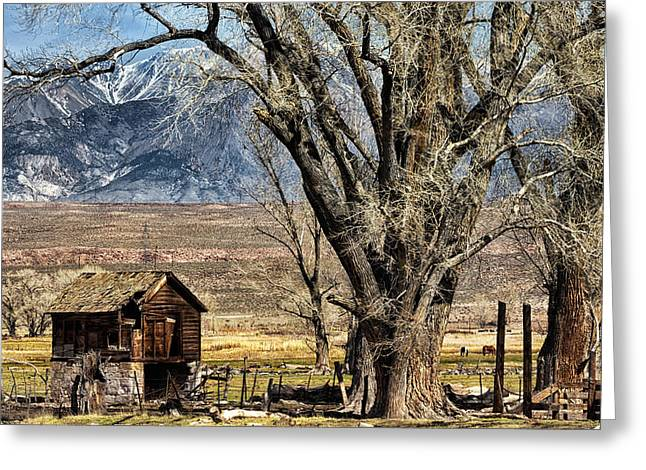 Cattle-shed Digital Art Greeting Cards - Owens Valley Greeting Card by Kathleen Bishop
