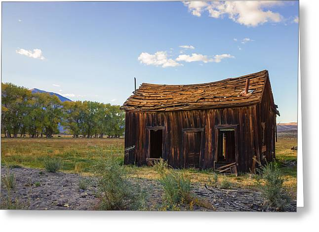 Ghose Greeting Cards - Owens Valley Shack Greeting Card by Priya Ghose