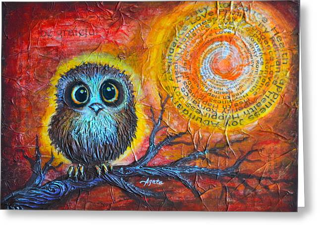 Empowerment Greeting Cards - Owl Always Be Grateful Greeting Card by Agata Lindquist