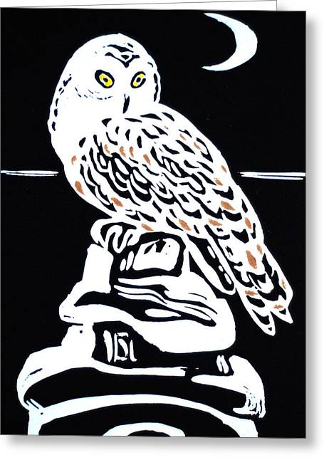 Linocut Reliefs Greeting Cards - Owl And Moon Greeting Card by Vadim Vaskovsky