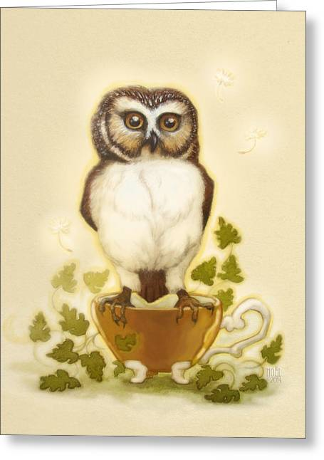 Neutral Background Greeting Cards - Owl and Teacup Greeting Card by Catherine Noel