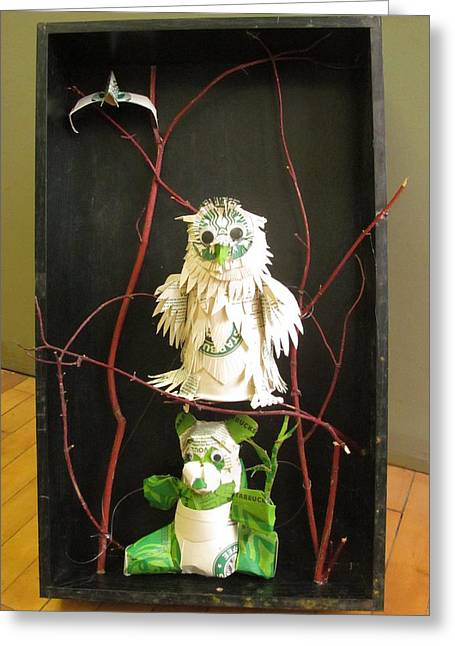 Recycled Sculptures Sculptures Greeting Cards - Owl and the Panda  Greeting Card by Alfred Ng