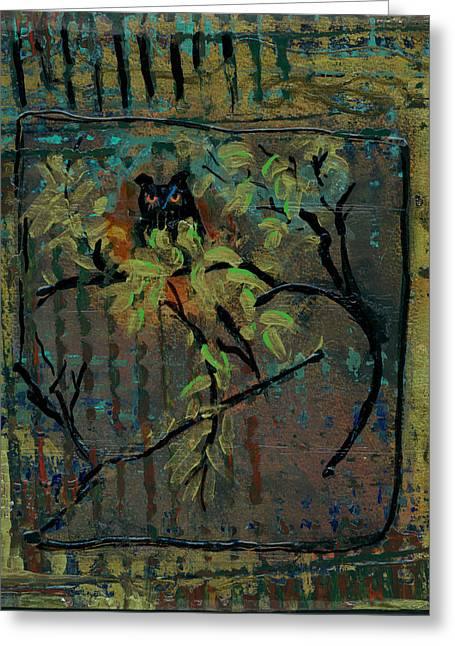 Forest At Night Greeting Cards - Owl Greeting Card by Ethel Vrana