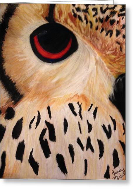Great Birds Pastels Greeting Cards - Owl Eye Greeting Card by Renee Michelle Wenker